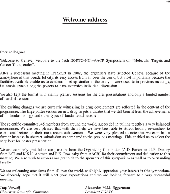 welcome address format